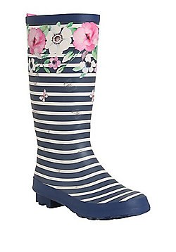 F&F Striped Floral Print Wellies - Navy