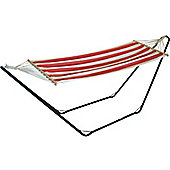 Garden / Camping Hammock Metal Stand With Red / White Stripe Hammock Fabric