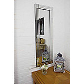 Large Silver Bevelled Triple Edge Venetian Dressing Wall Mirror 120Cm X 40Cm