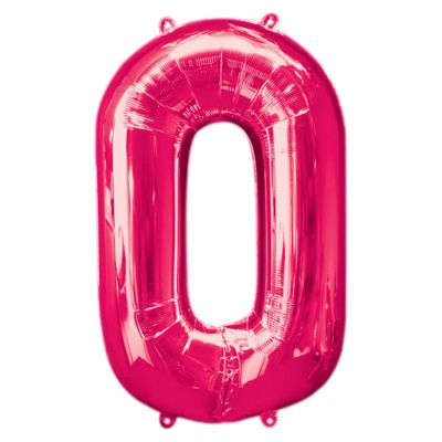 Pink Number 0 Balloon - 34 inch Foil