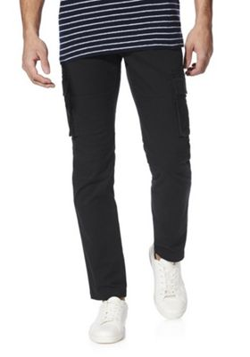 F&F Belted Slim Fit Cargo Trousers Navy 30 Waist 34 Leg