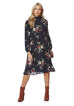 Izabel London High Neck Floral Midi Dress - Red & Multi