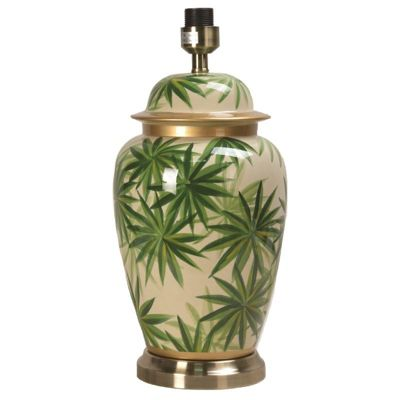 Urn Table Lamp with Green Palm Leaf Design