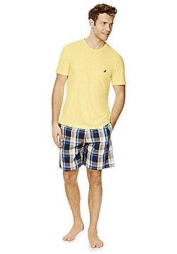 F&F Checked Shorts Loungewear Set - Yellow