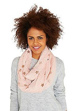 F&F Foil Star Print Tube Scarf - Pink
