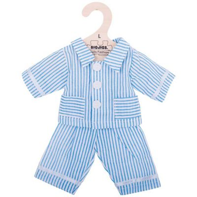 Bigjigs Toys Blue Striped Rag Doll Pyjamas for 38cm Soft Doll - Suitable for 2+ Years