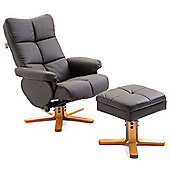 Homcom Adjustable PU Leather Recliner Swivel Chair and Storage Ottoman Footrest (Brown)