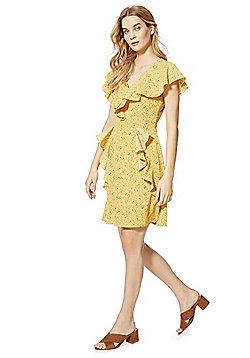 Izabel London Smudge Spot Print Ruffle Trim Dress - Yellow