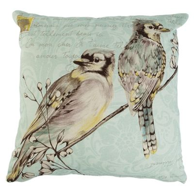 F&F Home Watercolour Birds Cushion Jade