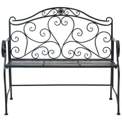 Charles Bentley Wrought Iron Antique Black Bench