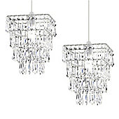 Pair of 4 Tier Acrylic Crystal Ceiling Pendant Light Shade Chandeliers