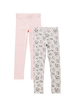 F&F 2 Pack of Leggings - Grey & Pink