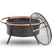 VonHaus Copper Rim Fire Pit with Grill Rack