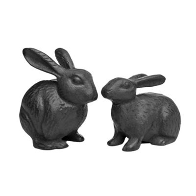 Pair of Black Cast Iron Rabbit Garden Ornaments