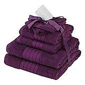 Dreamscene Luxury Egyptian Cotton 6 Piece Bath Towel Set - Aubergine