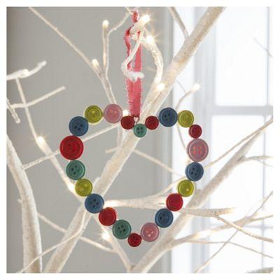 Gisela Graham Multi-Colour Button Heart Hanging Decoration