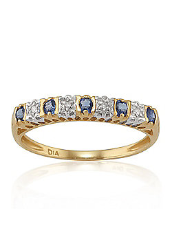 Gemondo 9ct Yellow Gold 0.24ct Natural Sapphire & Diamond Half Eternity Ring