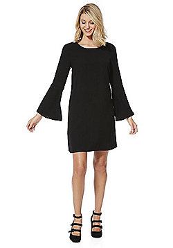 Vila V-Back Flute Sleeve Dress - Black