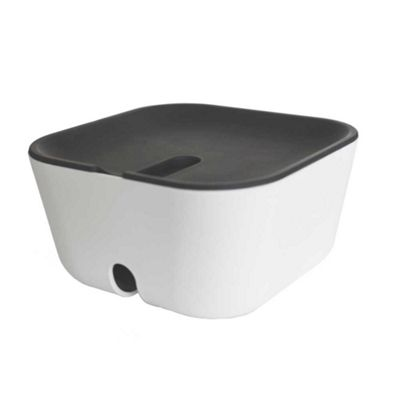 Bosign Hideaway White Cable Management Box Small Size with Grey Lid 18x18x9.5cm