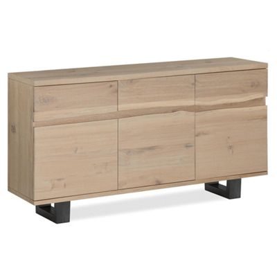 Oak Mill Live Edge Sideboard - Metal Base - White Oil Finish