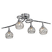 Designer Chrome Plated Ceiling Light with Beaded Shades