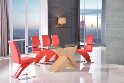 Valencia Glass & Oak 200 cm Dining Table with 6 Red Zed Chairs