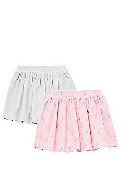 F&F 2 Pack of Jersey Skater Skirts - Pink & Grey