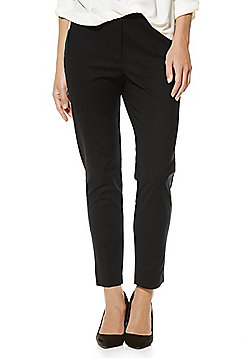 F&F Mid Rise Slim Leg Ankle Grazer Trousers - Black