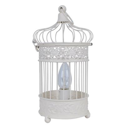 Modern Birdcage Style Chabby Chic Table Lamp, Ivory Cream