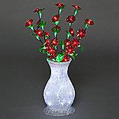 Illuminated Acrylic Vase with Red Flowers 58cm