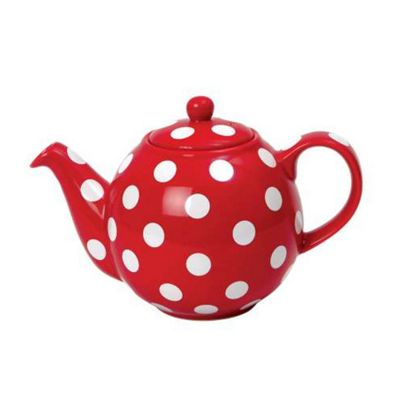 London Pottery Globe Teapot, 4 Cup, Red with White Spots
