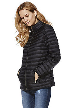 F&F Shower Resistant Travel Pillow Puffer Jacket - Black