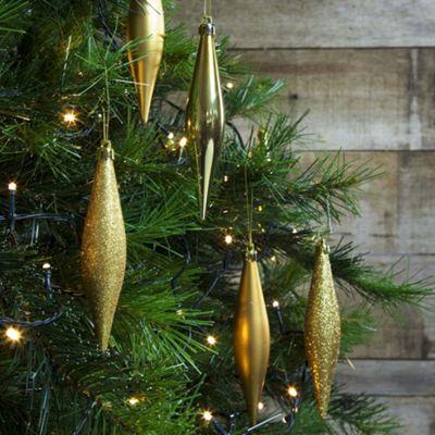 6pcs 14cm Shatterproof Gold Icicle Teardrop Christmas Tree Bauble Decorations