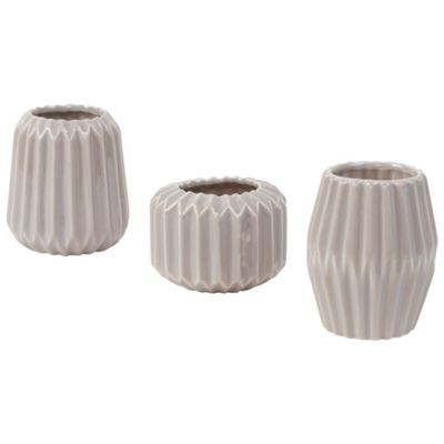 Set of 3 Neutral Grey/Brown Pebble Ceramic Pleated Bud Vases