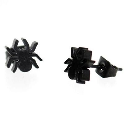Urban Male Black Stainless Steel Men's Spider Design Stud Earrings 7mm