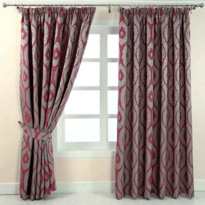 Homescapes Pink and Silver Jacquard Curtain Abstract Ikat Design Fully Lined - 46