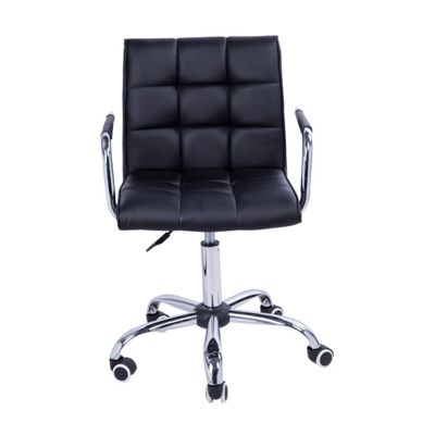 homcom swivel office chair pu leather black