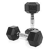 Body Power Rubber Hex Ergo Dumbbells - 9Kg (x2)