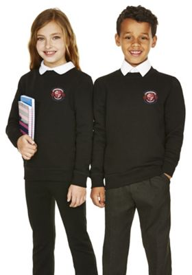 Unisex Embroidered Cotton Blend School Sweatshirt with As New Technology 10-11 years Black