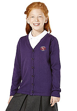 Girls Embroidered Scallop Edge School Cotton Cardigan with As New Technology - Purple
