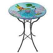 Outdoor Garden Solar Dragonfly Glass Bird Bath