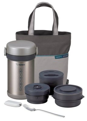 Zojirushi Stainless Steel Lunch Set with 3 in 1 Vacuum Lunch Jar and Carry Bag