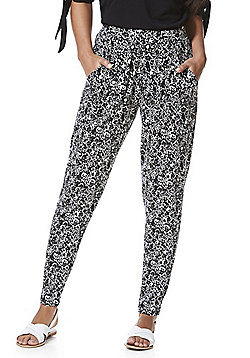 F&F Monochrome Floral Print Jersey Tapered Trousers - Black & White
