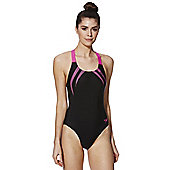 Speedo Endurance®10 Contrast Logo Muscle Back Swimsuit - Black