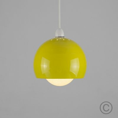 MiniSun Arco Metal LED Ceiling Pendant Shade, Yellow & Sparkle Globe Bulb