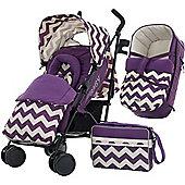 OBaby Zeal Stroller Bundle (ZigZag Purple)