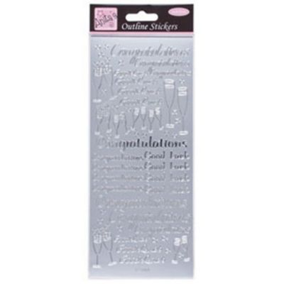 Outline Stickers Congratulations Silver