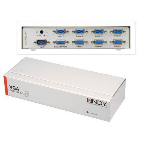 LINDY 8 Port VGA Splitter Pro 450MHz.
