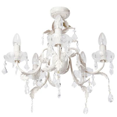 Litecraft Paris 5 Bulb Floral Inspired Chandelier, Cream & Gold