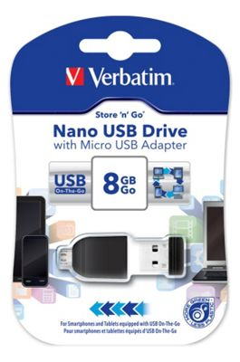 Verbatim Store 'n' Go NANO (8GB) USB Drive with Micro USB On The Go Adapter